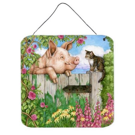 Carolines Treasures CDCO0349DS66 Pig at the Gate with the Cat Wall or Door Hanging Prints - image 1 de 1
