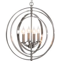"Best Choice Products 18"" 4-Light Sphere Pendant Chandelier Lighting Fixture (Brushed Nickel)"