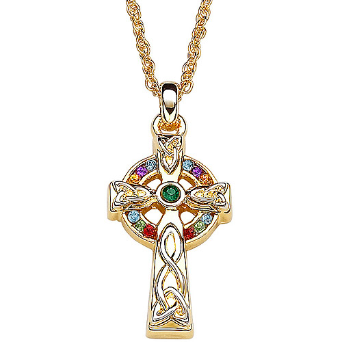 Multicolor Crystal Rainbow Gold Tone Celtic Cross Pendant, 20""