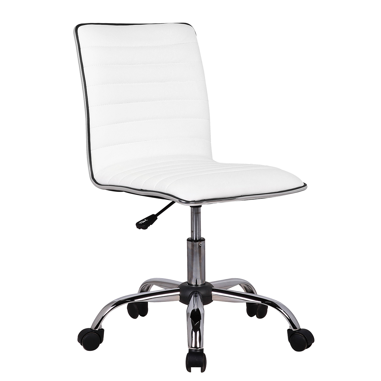 Beau Belleze Modern Ribbed Office Chair Armless Seat Desk Seat Swivel Task, White