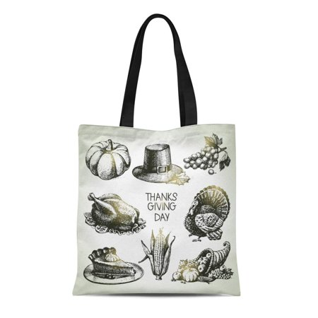 ASHLEIGH Canvas Bag Resuable Tote Grocery Shopping Bags Turkey Thanksgiving Day Vintage Pie Pumpkin Cornucopia Sketch Apple Food Corn Tote
