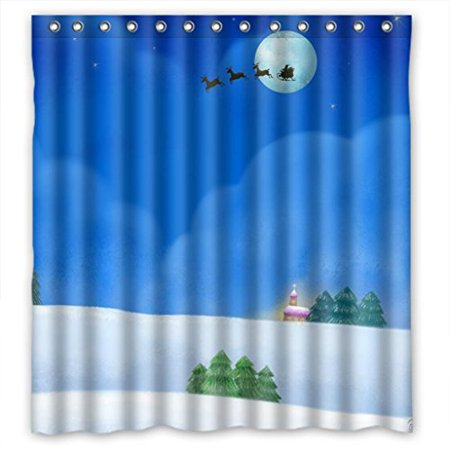 Glam Cap (MOHome Glam Blue Moon Sky With Deer Car Shower Curtain Waterproof Polyester Fabric Shower Curtain Size 66x72 inches )