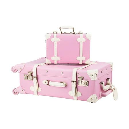 Preenex Premium PU Vintage Style Suitcase Set Luggage Bag w/ TSA Locks Wheels ()