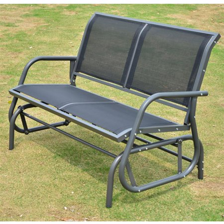 comfortable Black Outdoor Durable Steel Frame Patio Swing Glider Bench Chair - 48