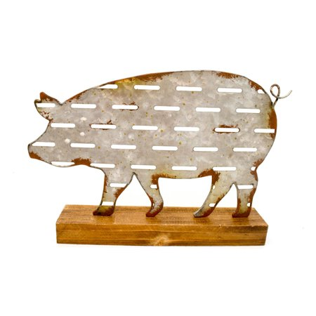 Distressed Finish Sheet Metal Pig Tabletop Statue On Wooden Base