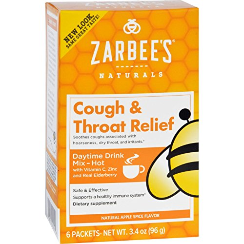 4 Pack Zarbee's Apple Spice Cough and Throat Relief Daytime Drink 6 Packets Each