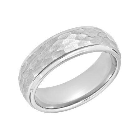 Men's Tungsten 8MM Hammered Finish Wedding Band - Mens Ring (Hammered Design Wedding Band)
