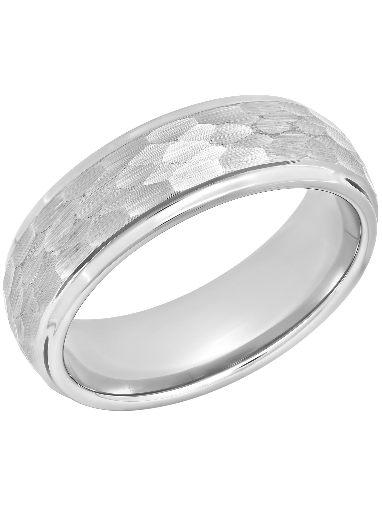 Men's Tungsten 8MM Hammered Finish Wedding Band - Mens Ring
