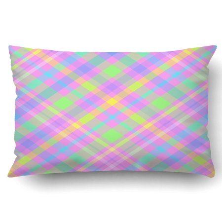 BSDHOME Bright Pattern With Colorful Diagonal Stripes And Cells For Girls Pillowcase Pillow Cushion Cover 20x30 inch - image 1 de 1