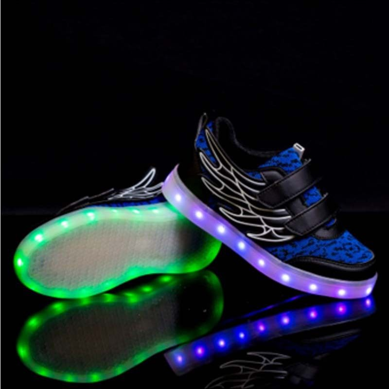 Charming Coolingup Rechargeable Wings LED Light Up Shoes 7 Colors USB Charging  Flashing Sneakers For Boys Girls