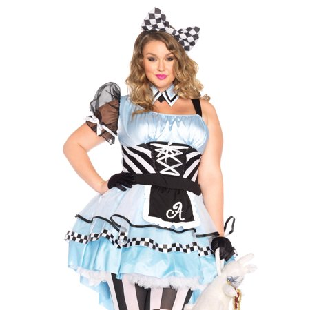 Leg Avenue Women's Plus-Size Psychedelic Alice Costume, Blue/Black, 3X