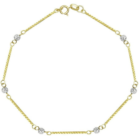 Geometric Design Bracelet (14kt Yellow & White Gold Two-Tone Diamond-Cut Puffed Geometric, Bar & Bead/Ball Station Two-Tone Bracelet 7.5 Chain)