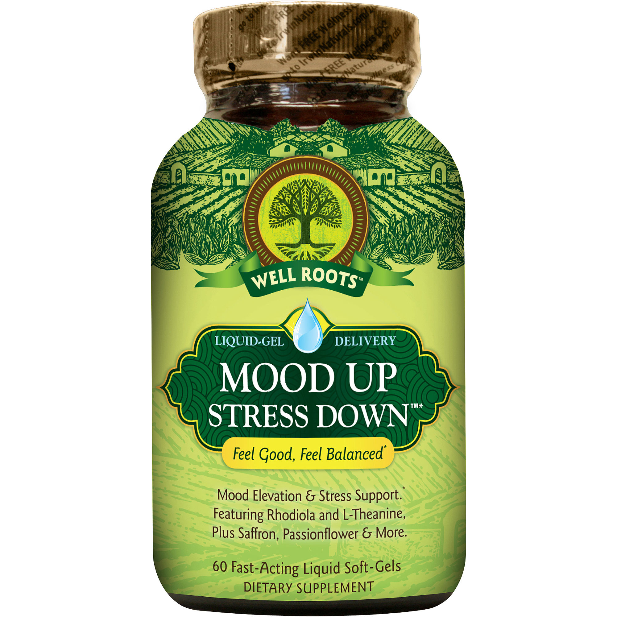 Well Roots Mood Up Stress Down Dietary Supplement Fast-Acting Liquid Soft-Gels, 60 count
