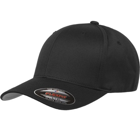 THE HAT PROS BLANK 6277 FLEXFIT WOOLY COMBED TWILL CAP ( XXL BLACK ) - The Hat Pros