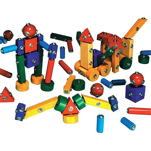 Childcraft Snap-N-Play Wood Block Set, Assorted Shapes and Colors, Set of 65 by Generic