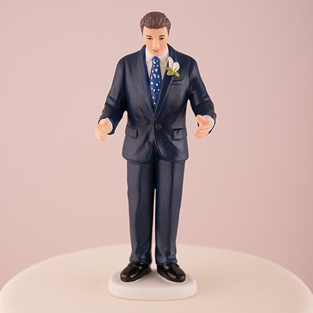 Contemporary Vintage Groom in Navy Blue Suit Porcelain Wedding Cake (Contemporary Christmas Cakes)