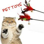2 PCS CAT Kitten Toy Pet Dangler Bell Rod Wand Teaser Teasing Feather Play Games
