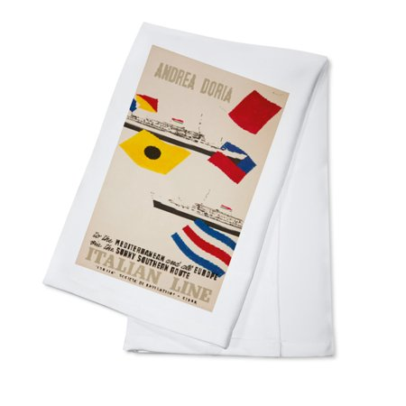 Kota Doria Cotton Saree - Andrea Doria - Cristoforo Columno Vintage Poster (artist: Ciuti) Italy c. 1954 (100% Cotton Kitchen Towel)