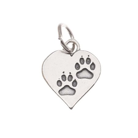 Heart Paw Charm (Sterling Silver Charm, Paw Prints on Heart 17mm, 1 Piece, Silver )