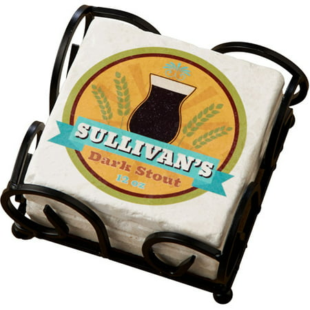 Personalized Craft Beer Label Coasters with Holder