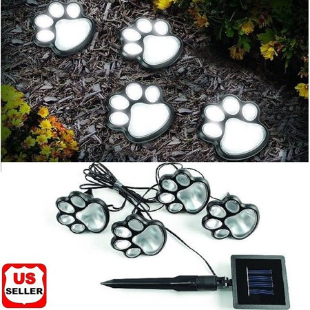 4 Solar Paw Print Lights Dog Path LED Cute Lawn Garden Patio Yard Decor Walkway