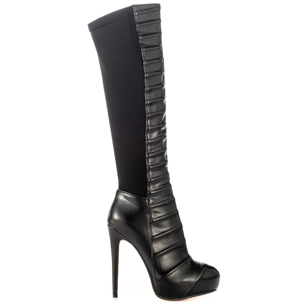 Luichiny Come Get Em Black Leather Gore Stretch Back Fitted Knee High Heel Boots (8) by