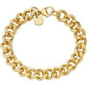 18kt Gold-Tone Diamond-Cut Link Bracelet, 7.75