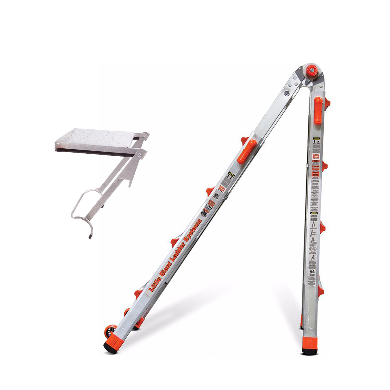 Little Giant Ladder Systems 22 Ft Aluminum Ladder w  375 LB Rated Work Platform by Little Giant Ladder Systems