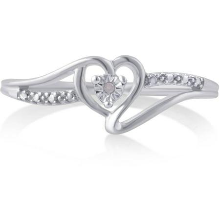 Diamond Accent Silver-Tone Heart Fashion - Accented Fashion Ring