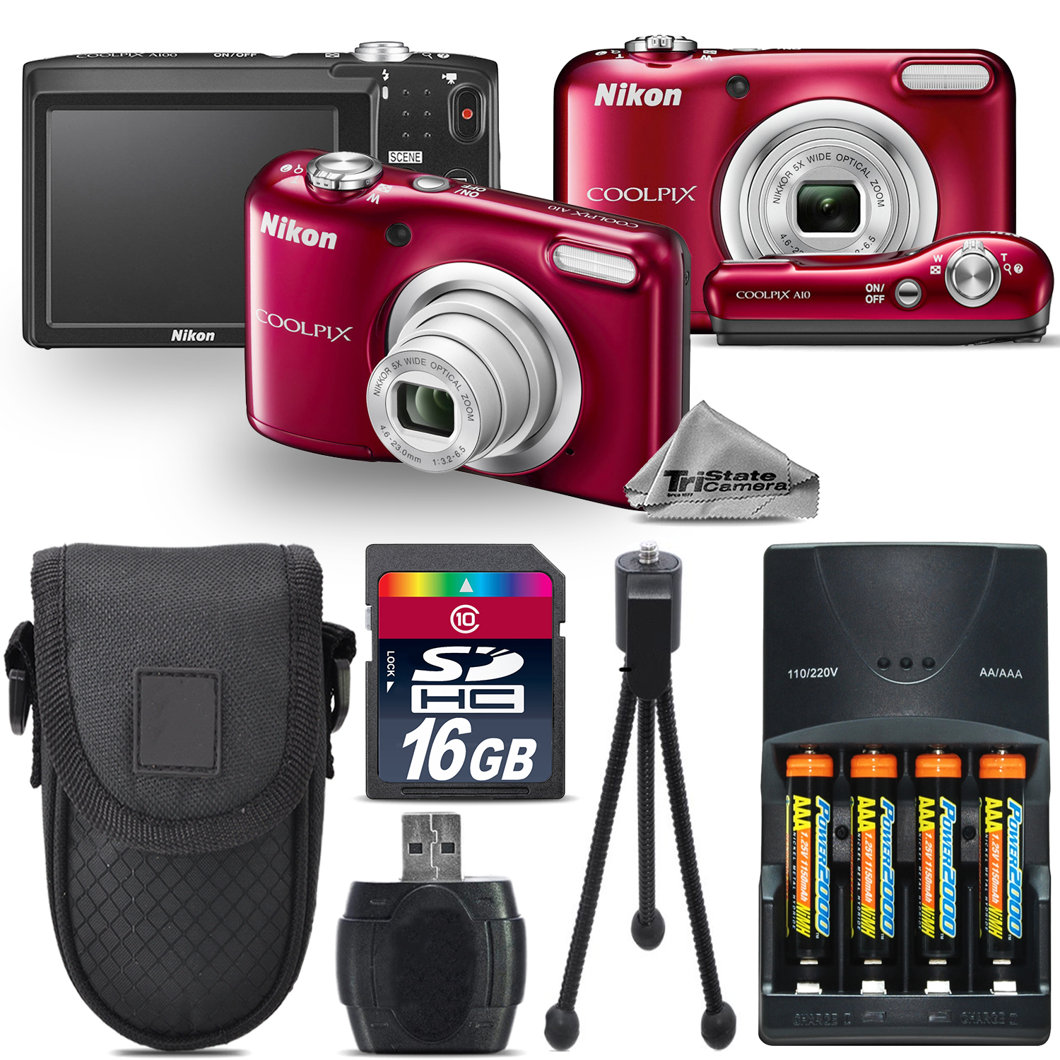 Nikon Coolpix A10 16.1MP Digital Camera RED 5x Optical Zo...