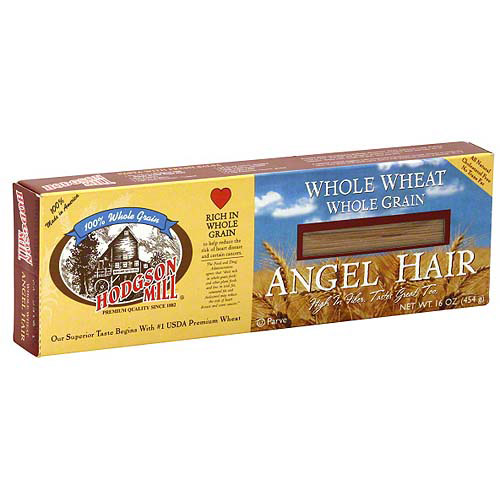 Hodgson Mill Whole Wheat Whole Grain Angel Hair Pasta, 16 oz (Pack of 12)