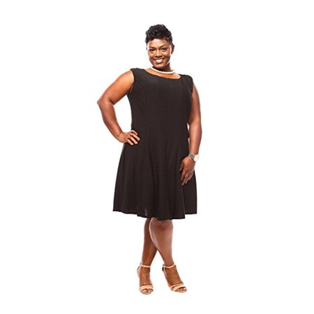 Julian Taylor Women Plus Size Pintuck Fit and Flare Dress - Plus Size Little Black Dress for $<!---->