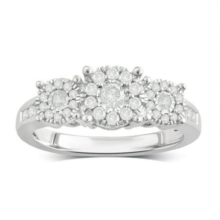 ONLINE 1/2 Carat T.W Diamond Sterling Silver Engagement Ring. (I-J/I2-I3) (I Carat Diamond Ring)