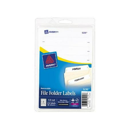 Avery Removable Laser Inkjet Filing Labels   0 67   Width X 3 44   Length   252   Pack   Rectangle   7 Sheet   Paper   Laser  Inkjet   White  5230 40