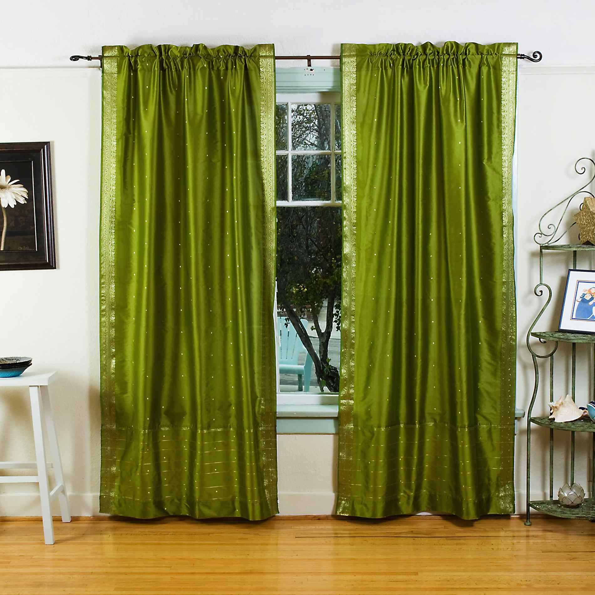 Olive Green Rod Pocket Sheer Sari Curtain Drape Panel
