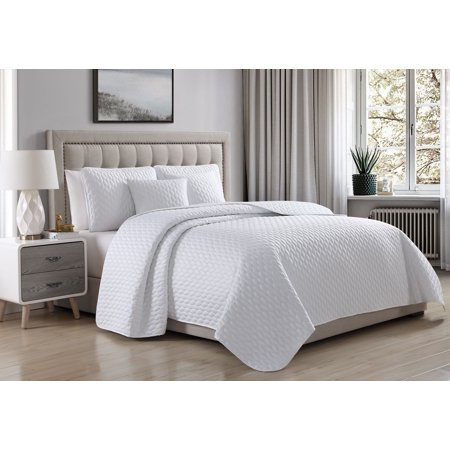 Cozy Beddings Escape Quilted Coverlet Set Soft Satin Lightweight leaves Pattern | White ()