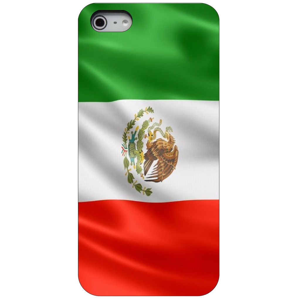 CUSTOM Black Hard Plastic Snap-On Case for Apple iPhone 5 / 5S / SE - Red White Green Mexican Flag Mexico