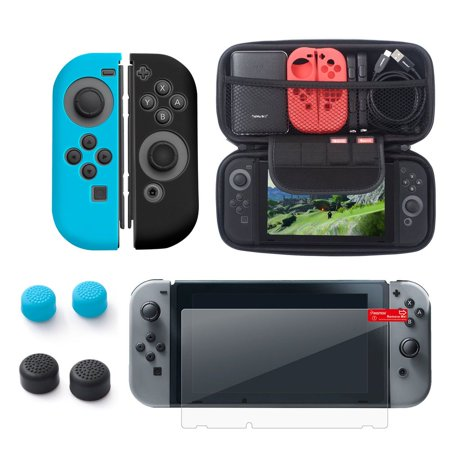 Nintendo Switch 6-in-1 Accessories Bundle Kit, by Insten Carrying Travel Hard EVA Case + Joy-Con Controller Skin [Left BLUE/Right BLACK] + Clear Protector + 4-pc Thumb Grip Caps