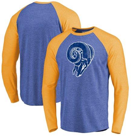 Los Angeles Rams Players - Los Angeles Rams Fanatics Branded Showtime Raglan Tri-Blend Long Sleeve T-Shirt - Royal