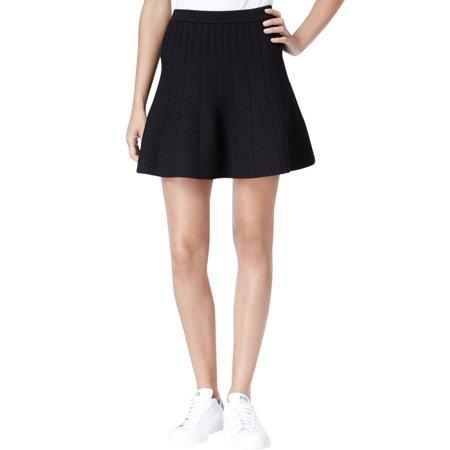 Rachel Roy Womens Knit Textured A-Line Skirt Black XXL