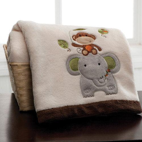 Kids Line Jungle Walk Embroidered Boa Blanket