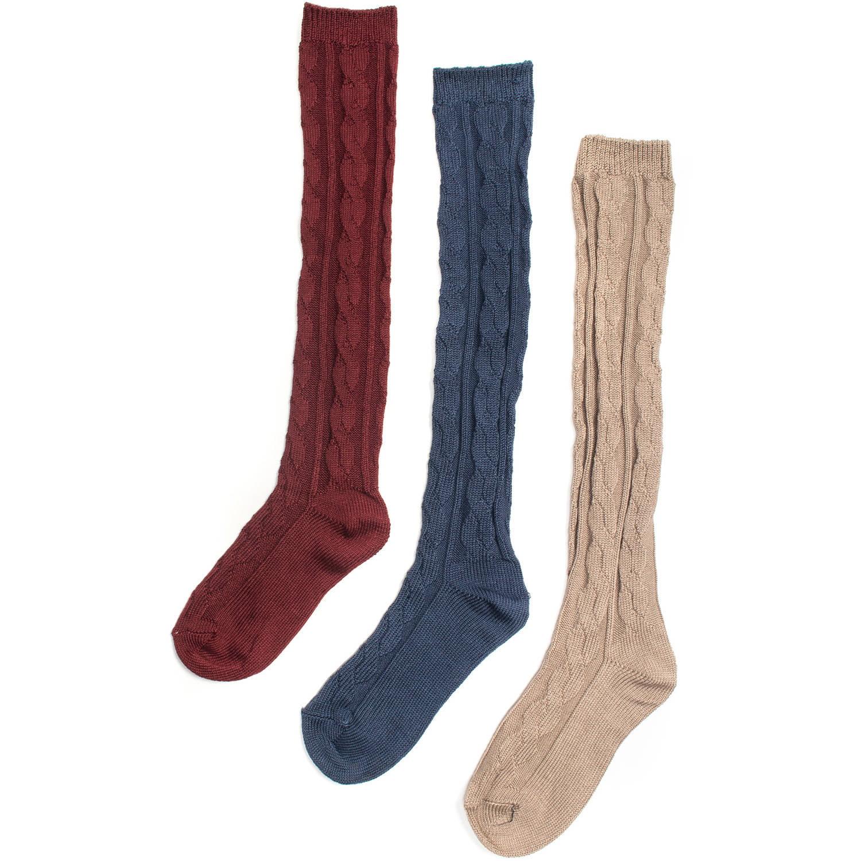 MUK LUKS Women's 3 Pair Pack Microfiber Knee High Socks