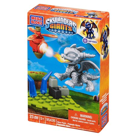 Skylanders Metallic Spyro Building Pack, Hero Pack with collectible Silver Metallic Spyro (Magic character) By Mega Bloks Ship from US