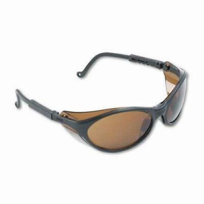 Uvex Wraparound Safety Glasses, Black Nylon Frame, Espresso Lens