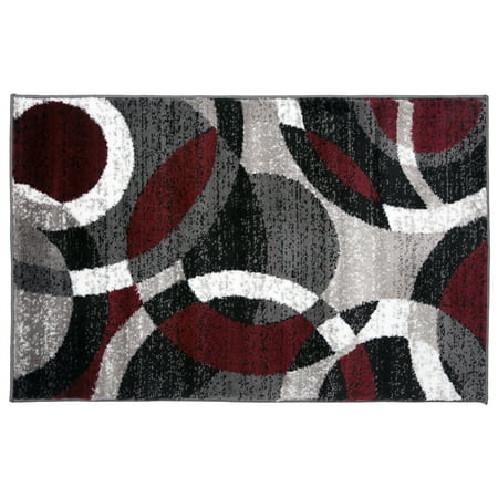 Contemporary Modern Circles Abstract Red 2' x 3' Indoor Area Rug