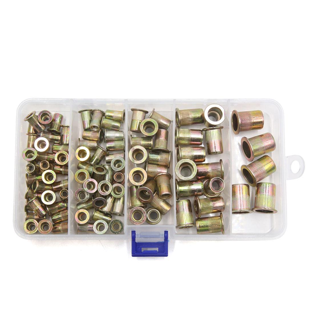 92Pcs Mixed Zinc Plated Carbon Steel Car Rivet Nut Flat Head Insert Nutsert Kit - image 2 of 4