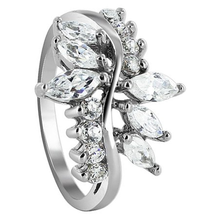 1906 Gem - Gem Avenue 925 Sterling Silver Marquise Shape Cubic Zirconia Floral Ring Size 6