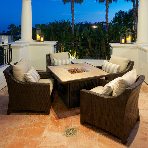 RST Brands Deco 5 Piece Fire Pit Seating Group with Cushions