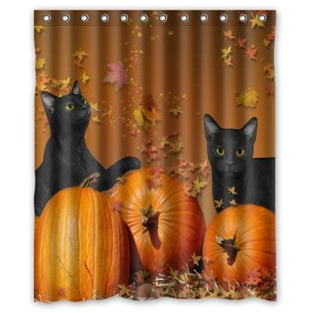 HelloDecor Halloween Pumpkin And Black Cats Shower Curtain Polyester Fabric Bathroom Decorative Curtain Size 60x72 Inches - Halloween Cat Fabric