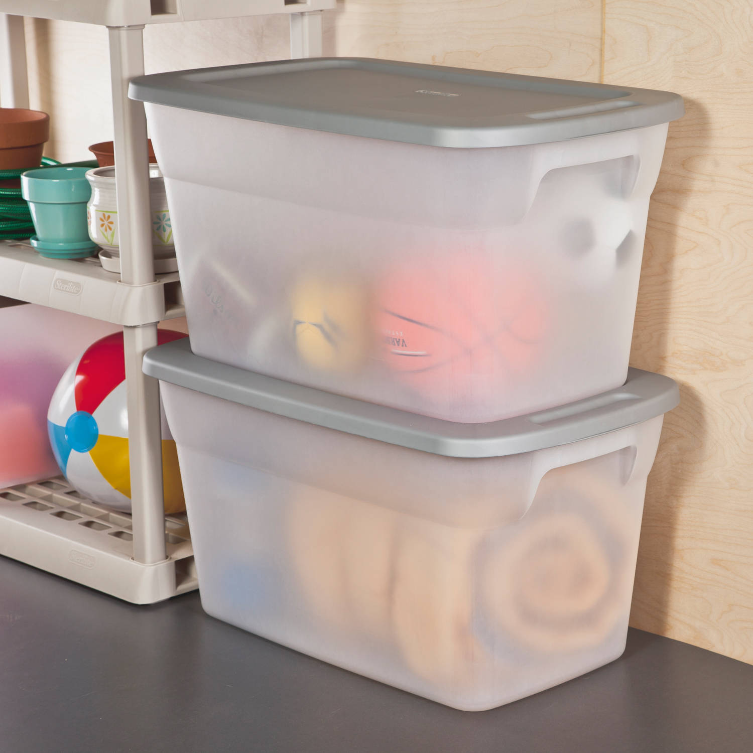 Delightful 114 L Tote Box, Clear/ Titanium, Available In Case Of 6 Or Single Unit    Walmart.com